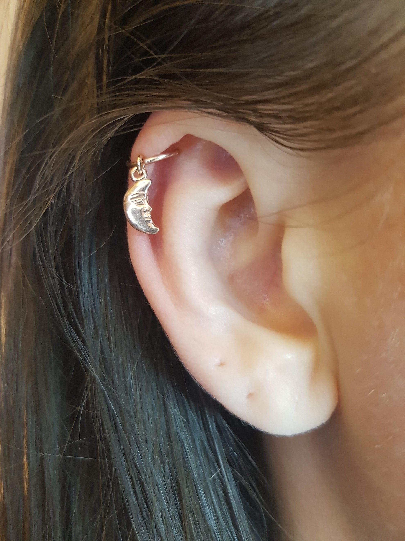 Unisex Ear Piercing Lip Body Cartilage Helix Crystal Star Moon Barbell Bar Earr