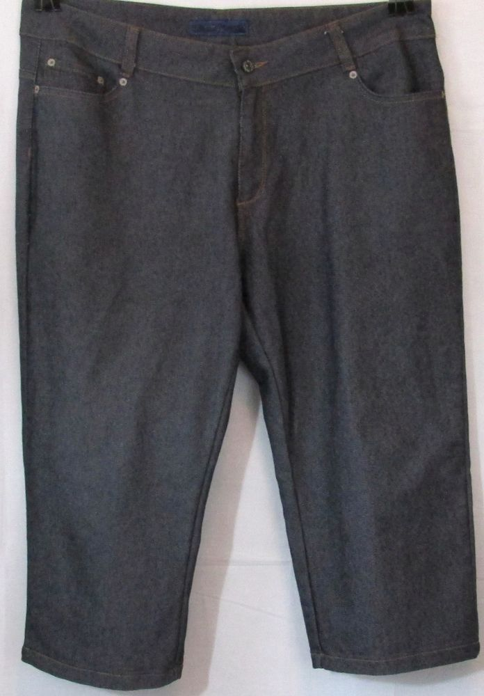 cf5bf6b1c26 Avenue Plus Size Gray or Grey Cropped Stitched Denim Jeans Size 20  Avenue   CapriCropped