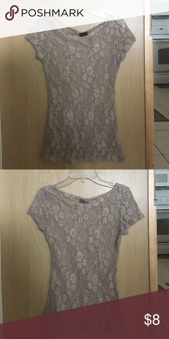 blouse see through. tan. floral lace. LOVE Tops Blouses