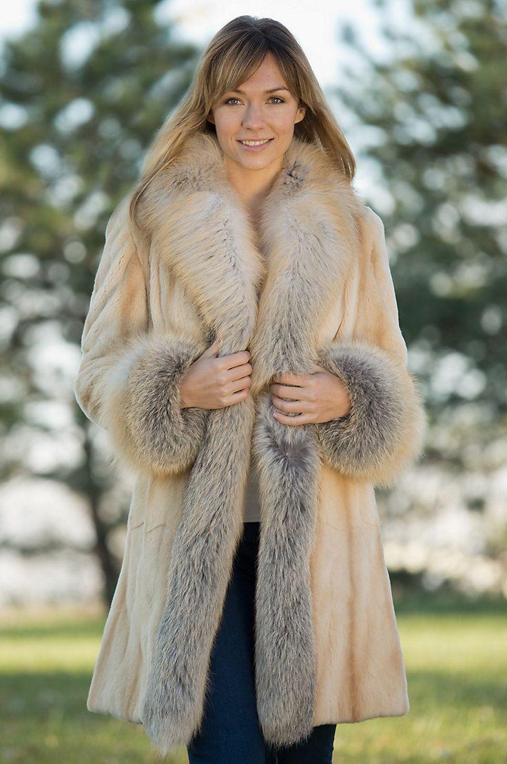 64043e0097c Women s Rosanna Sheared Mink Fur Coat with Fox Fur Trim by Overland  Sheepskin Co. (style 11010)