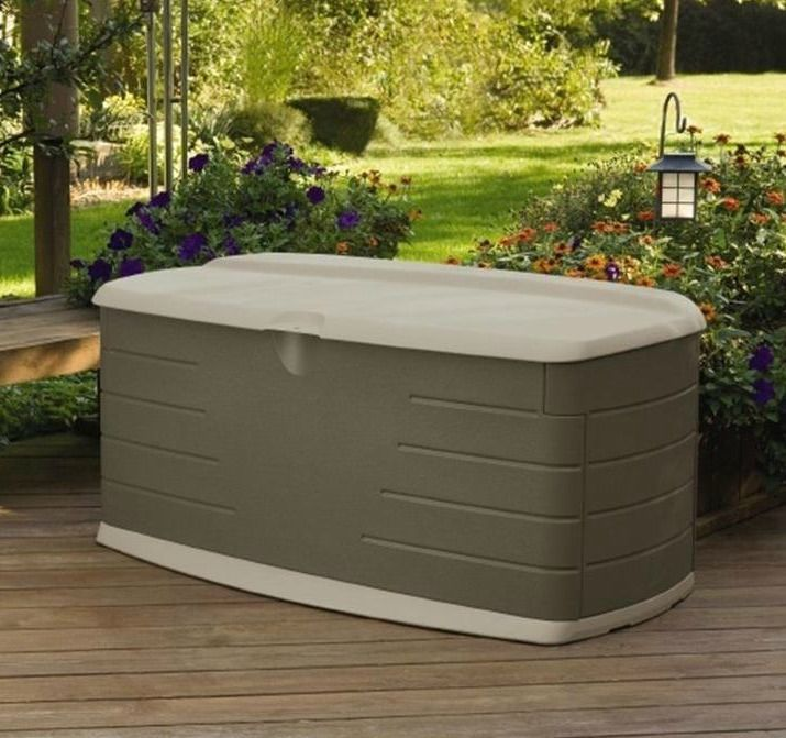 deck storage box seat bench 90 gal garden patio locking outdoor weather resist rubbermaid