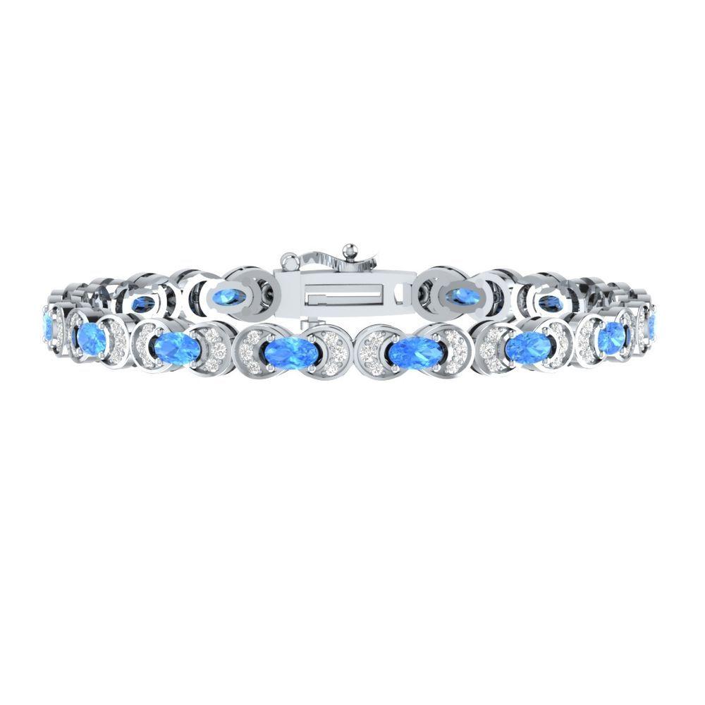 """Womens Jewelry 4.40 Ct Blue Topaz W/ Sapphire 7"""" Tennis Bracelet Sterling Silver #braceletrealgold #Tennis"""