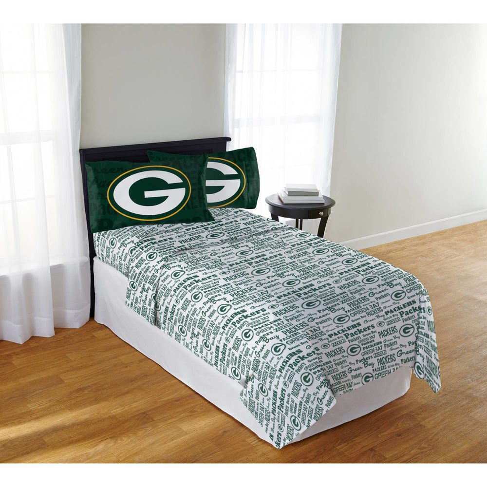 Green Bay Packers Sheet Set Nfl 4pc Flat Ed Sheets Pillowcase Bedding Full Northwest Greenbaypackers