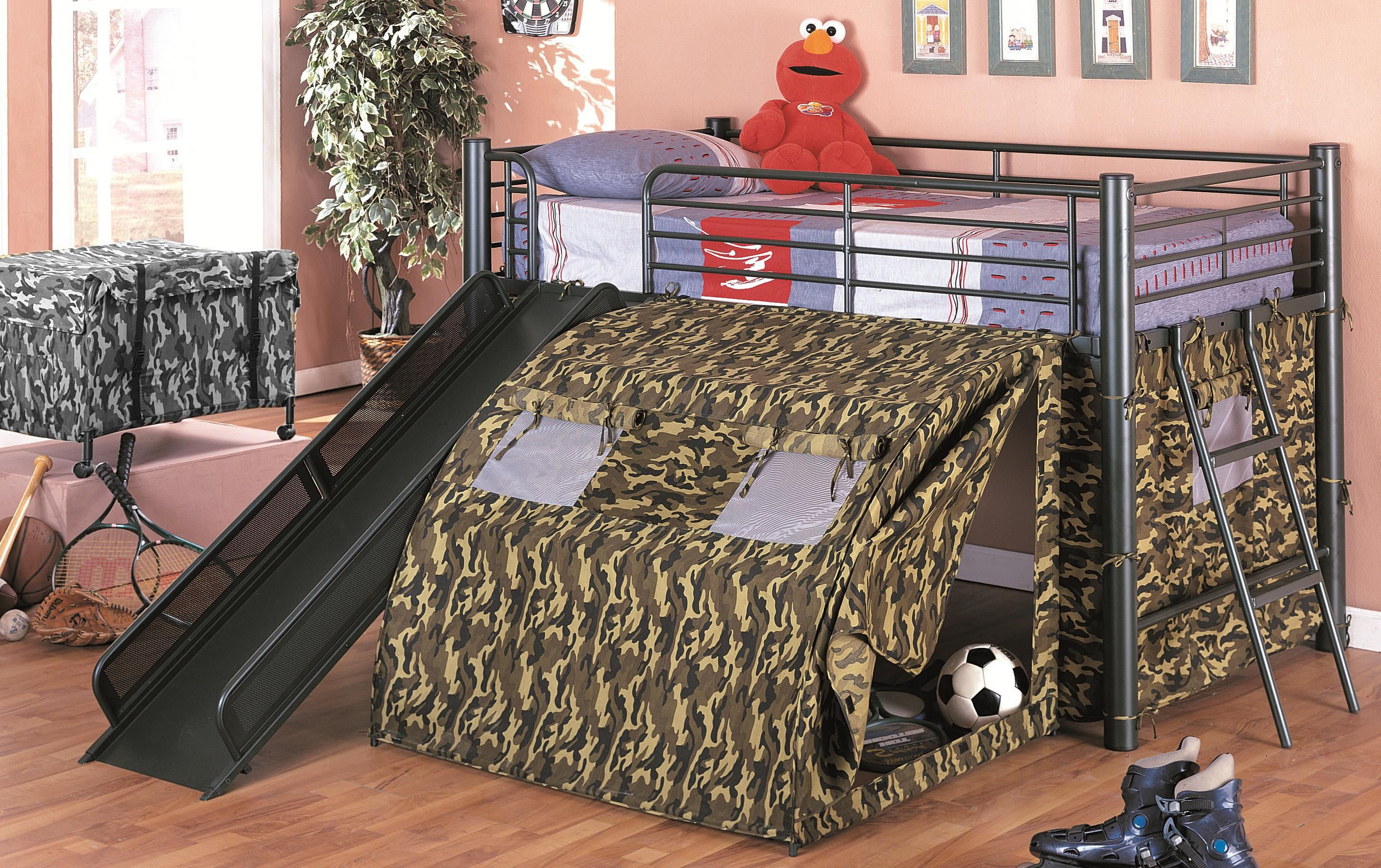 Coaster Kid s GI Child Bunk Bed with Slide and Tent Twin Size 7470 - : beds with slides and tents - memphite.com
