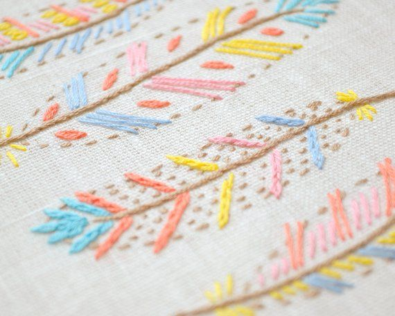 Hand Embroidery Patterns Digital Download Pdf Feathers 9
