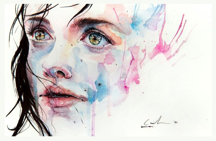 Just One In A Thousand Watercolor Painting By Italian Artist