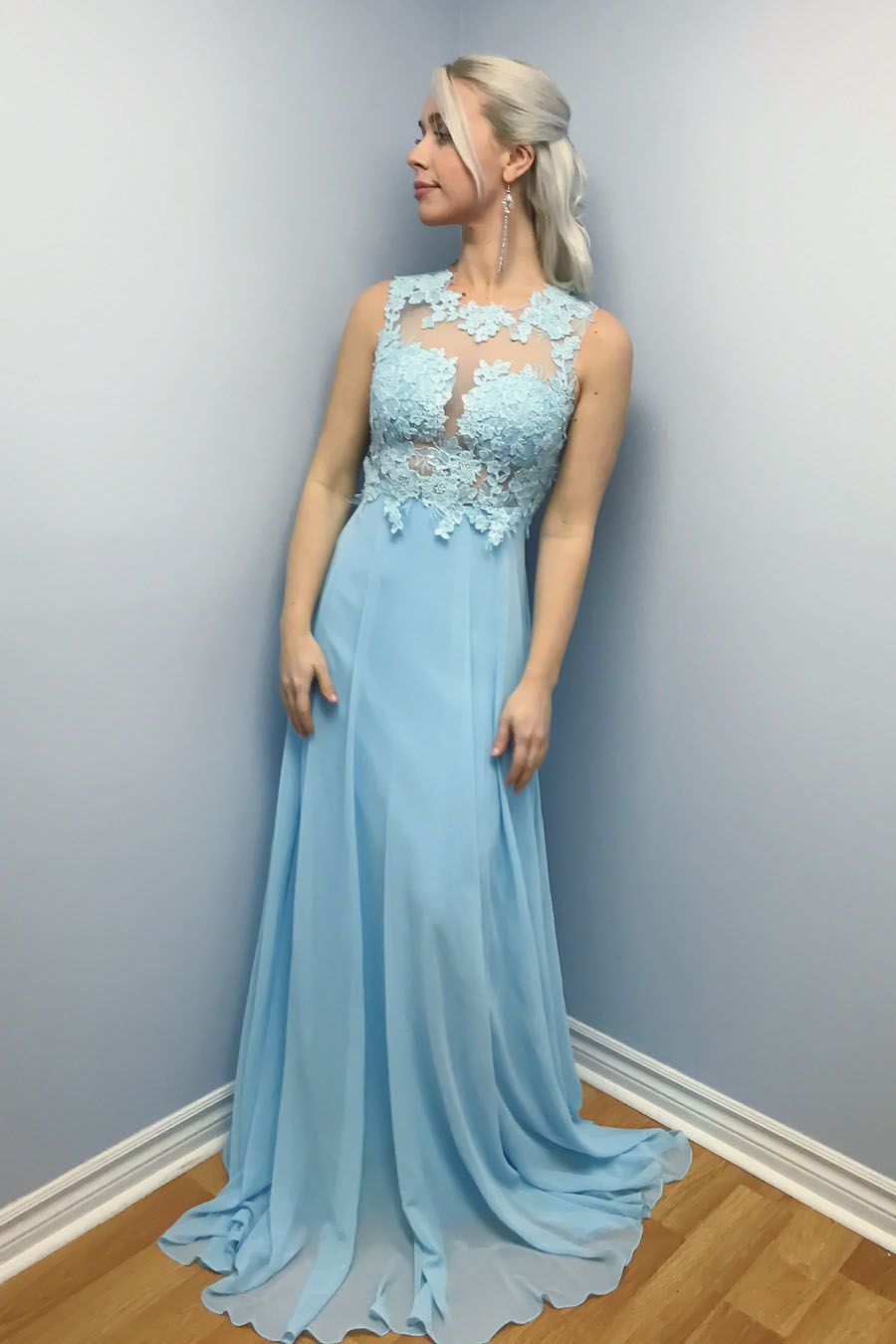 Elegant aline bue chiffon long prom dress fashionista pinterest