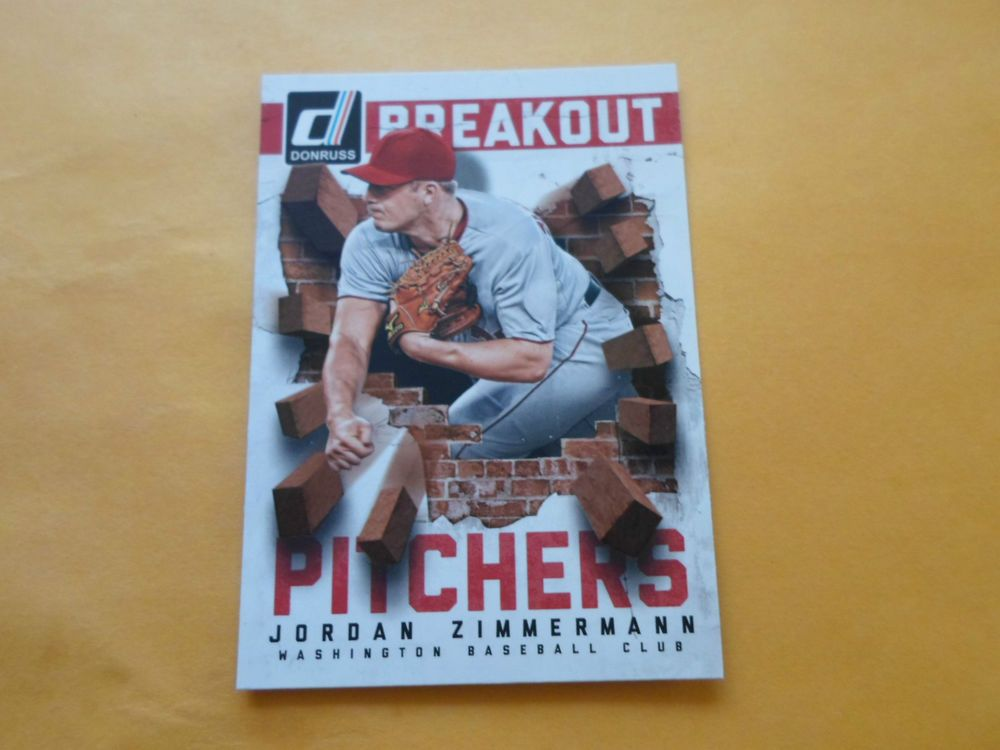 2014 DONRUSS BREAKOUT PICTHERS JORDAN ZIMMERMANN # 13 #WashingtonNationals