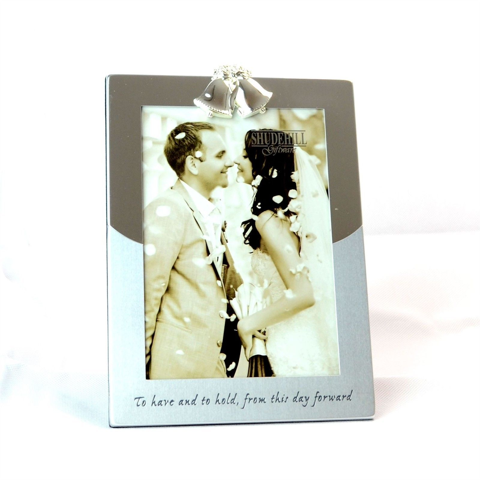 899 Gbp 5 X 7 Silver Photo Frame Double Bell On Top Wedding