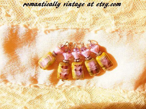 Lavender Czech Charm Set Purple Beaded by RomanticallyVintage
