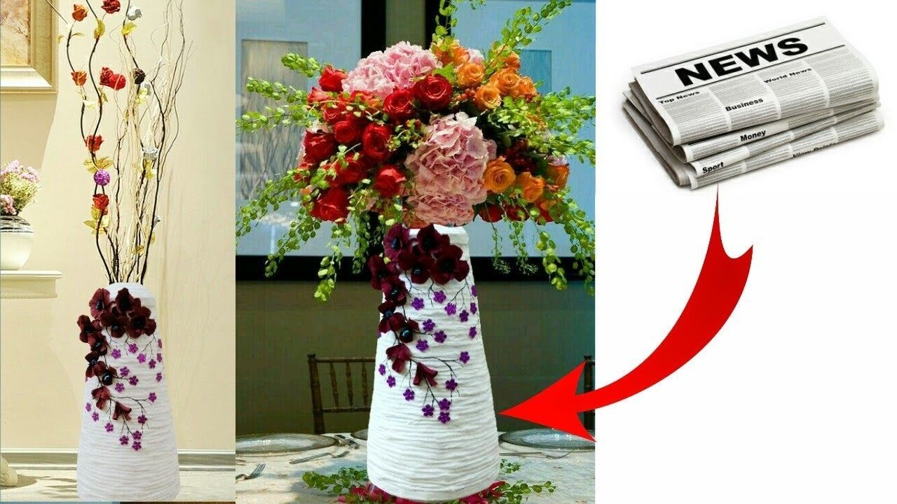 How To Make Flower Vase With Newspaper Craft Ideas Pinterest