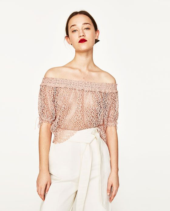 03be8018695bfa OFF-THE-SHOULDER GUIPURE LACE TOP from Zara (under  50)