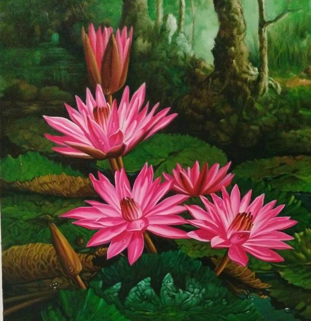 24 Wallpaper Gambar Bunga Teratai Jual Lukisan Bunga Teratai Kota Surakarta Marlin Gallery Tokopedia Download Us Gambar Bunga Lukisan Bunga Bunga Teratai