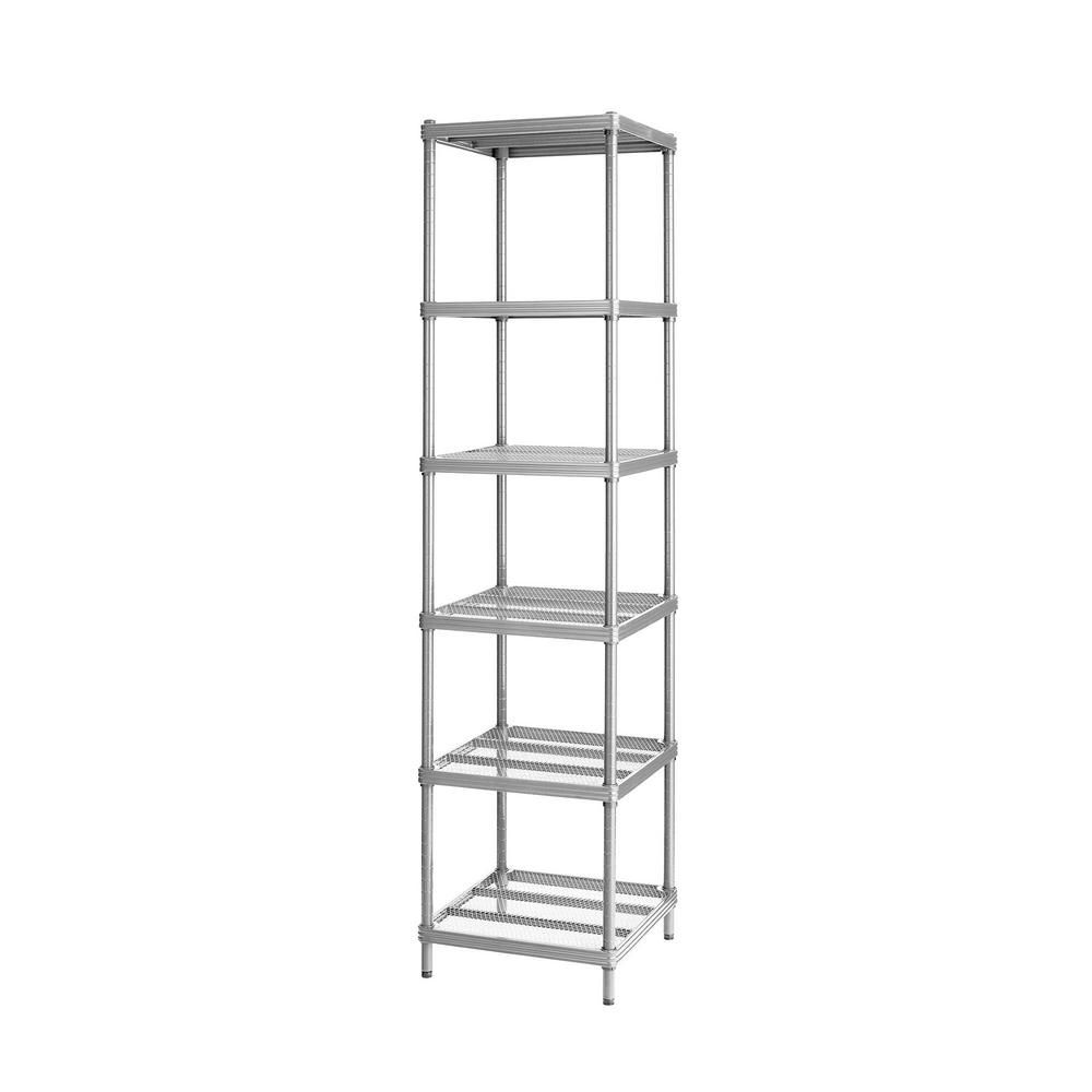 Design Ideas Ltd Meshworks 6 Shelf Metal Silver Freestanding Narrow Shelving Unit Metal Shelving Units Steel Shelving Unit Steel Shelving
