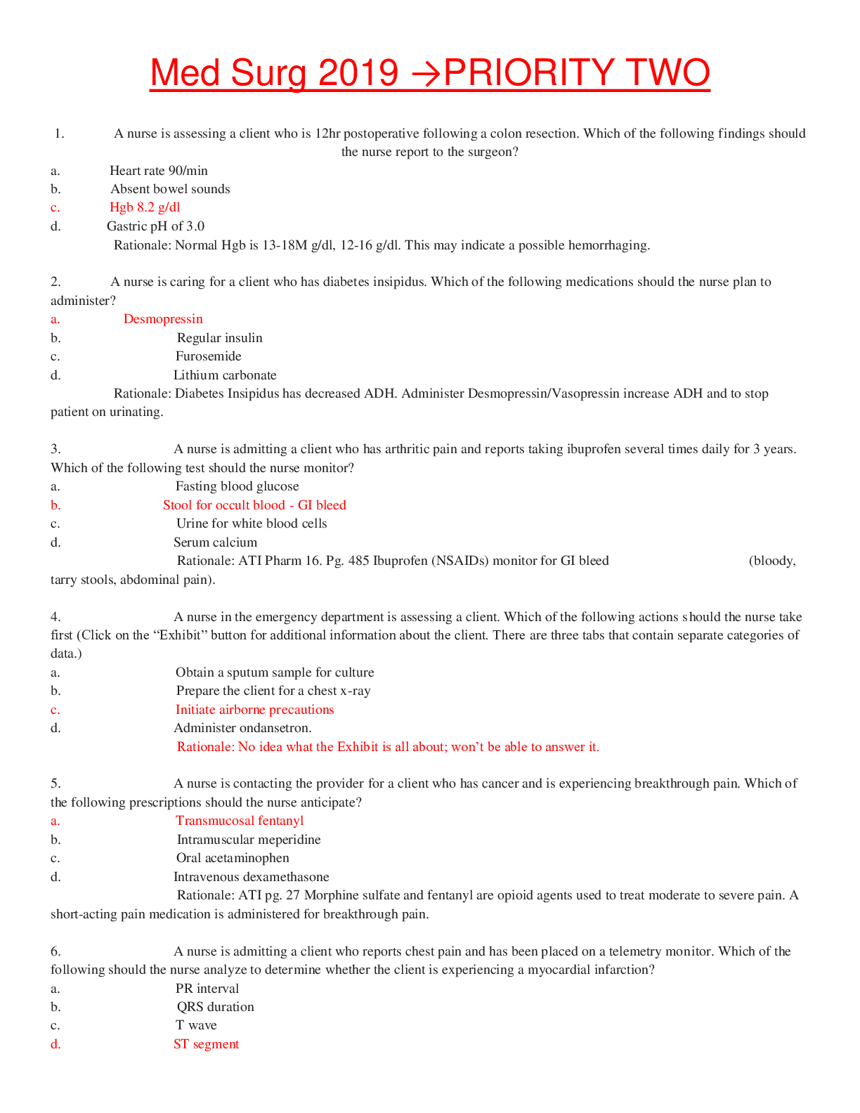 Extra Ati Comprehensive Exit Final 180 Questions And Answers Contains The Most Frequent Questions Med Surg Nursing Student Tips Nursing Study Tips
