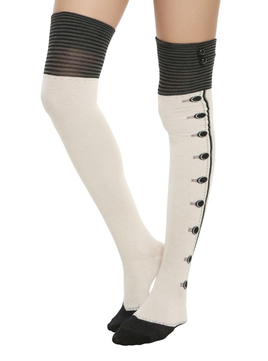 d90648a90f4 Steampunk Tights   Socks Black Cream Button Cuff Over-The-Knee Socks  8.50  AT vintagedancer.com