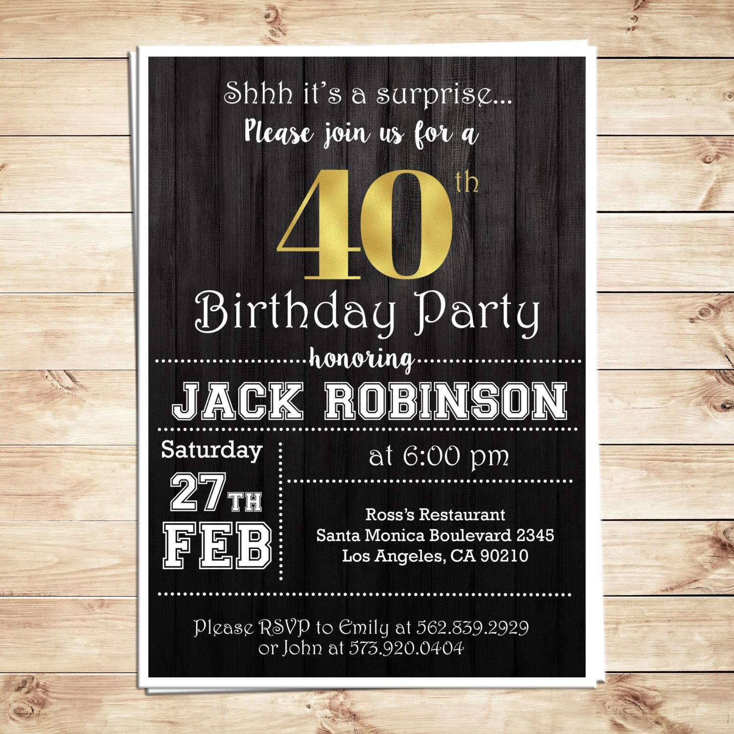 Surprise 40th birthday party invitations for him, Men 40th ...
