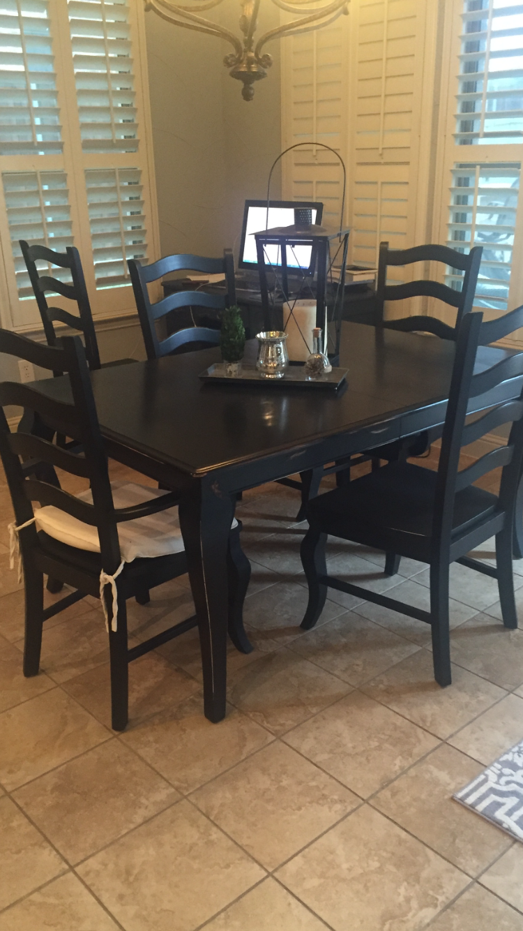 Fabulous Dining Set Done By A Customer In McKinney Texas Using Rethunk Junk  Furniture Paint In Midnight. RTJ Has A Solid, Gorgeous Black Paint Because  We ...
