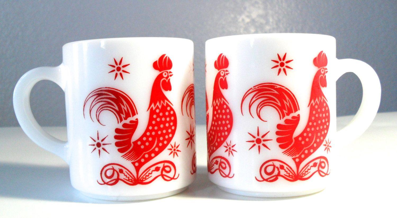 Hazel Atlas Mugs Vintage Rooster Milkglass Coffee Cups Milk Glass Rooster Mugs