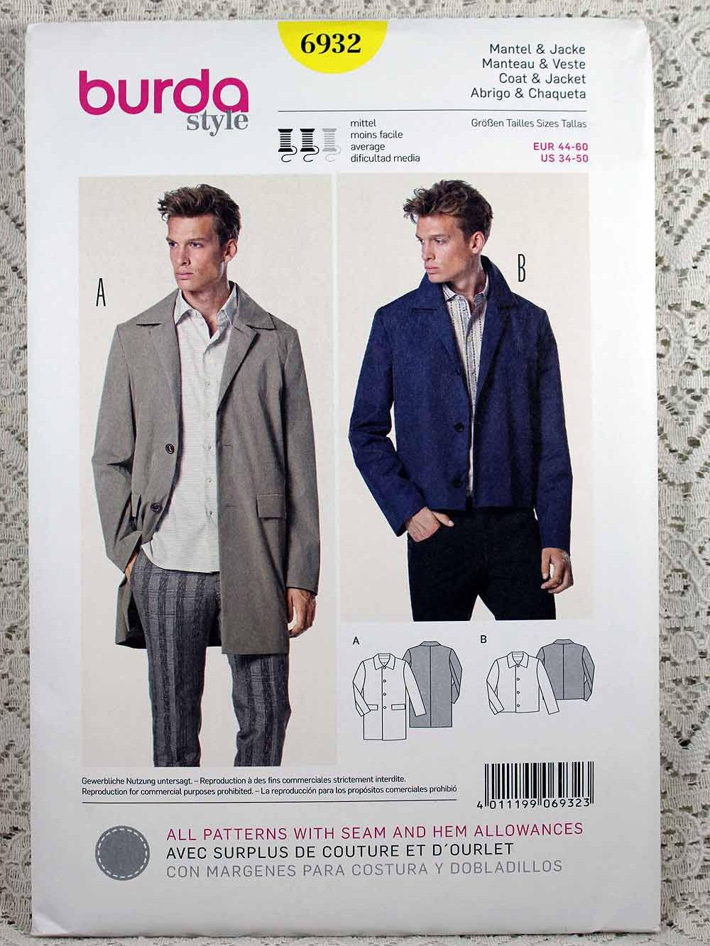 Burda 6932, Men\'s Coat and Jacket Sewing Pattern, Men\'s Coat Pattern ...