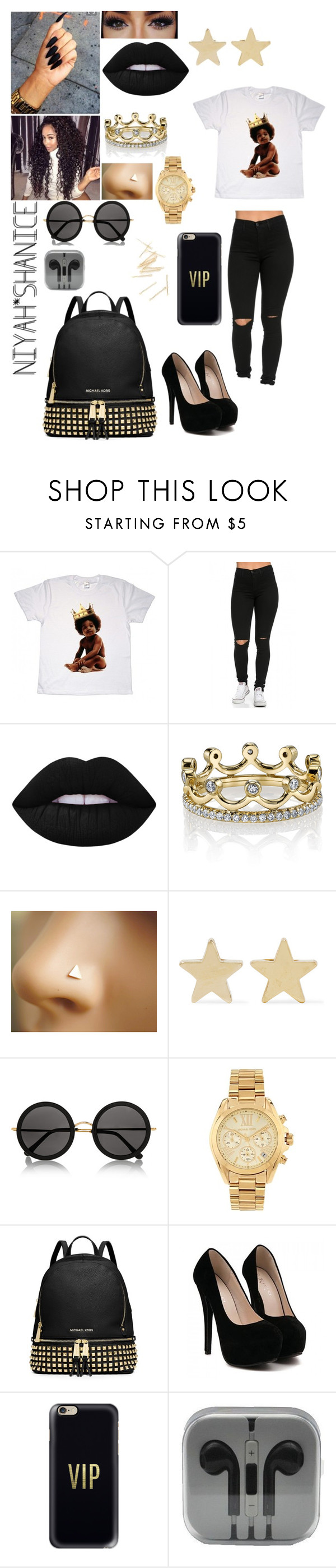 """""""The Gold Life Was All A Dream"""" by adavies1115 ❤ liked on Polyvore featuring Big Baby, Lime Crime, Erica Courtney, Jennifer Meyer Jewelry, The Row, Michael Kors, MICHAEL Michael Kors and Casetify"""
