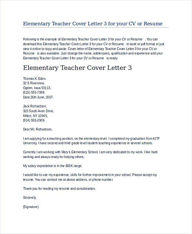 Elementary Teacher Cover Letter Example , Teaching Cover Letter - it job cover letter