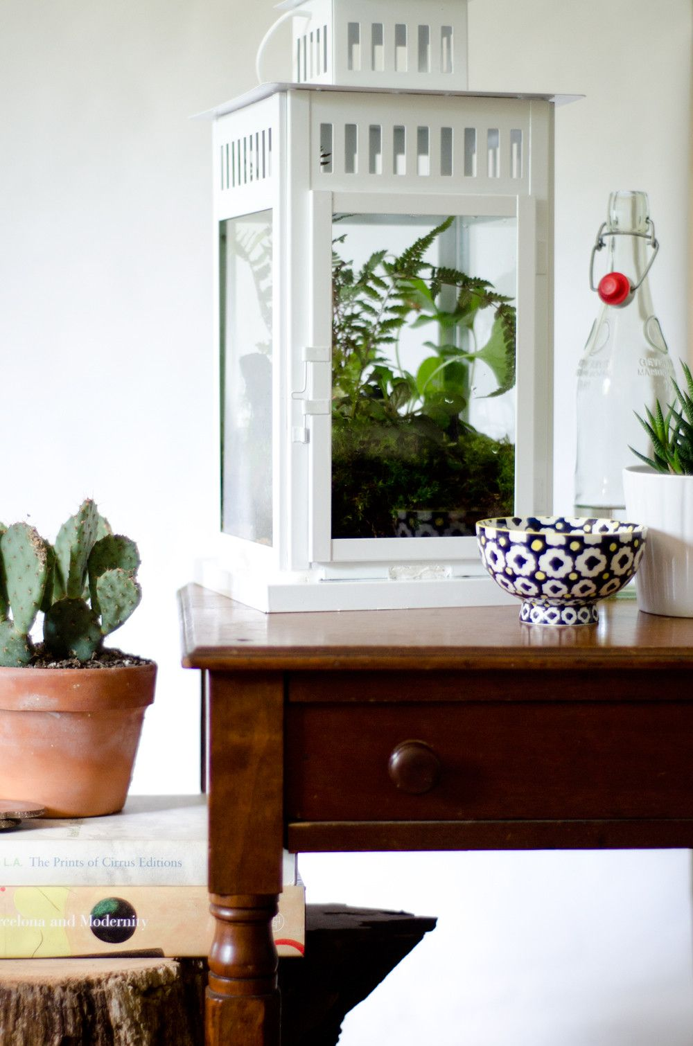 ikea white lantern hack - turned into a terrarium for a pop of green plants.