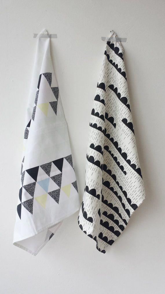 Set Of 2 Geometric Tea Towels Soft Triangles & Rainy Days