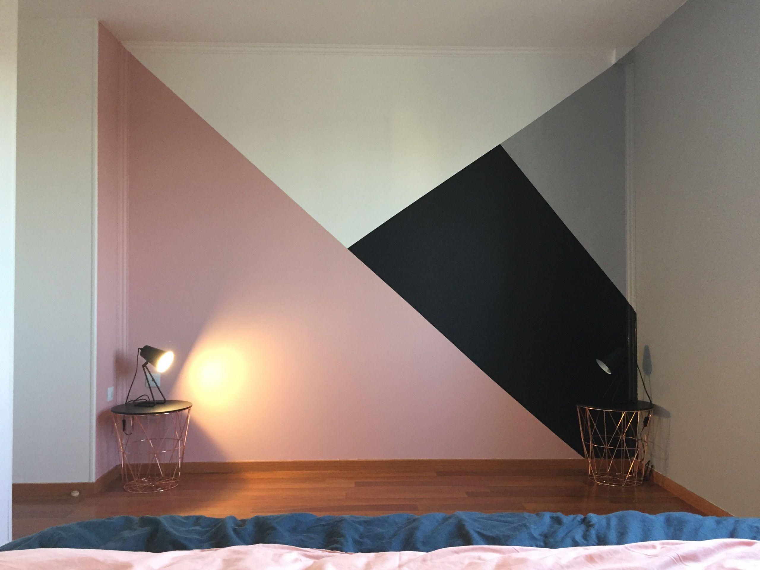 Peinture géométrique ,peinture chambre , déco ,rose ,noir , Blanc