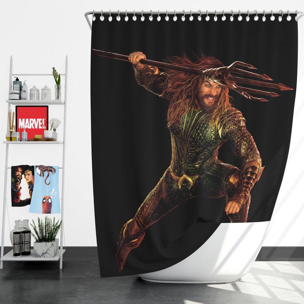 Aquaman Jason Momoa Shower Curtain Super Heroes Bedding