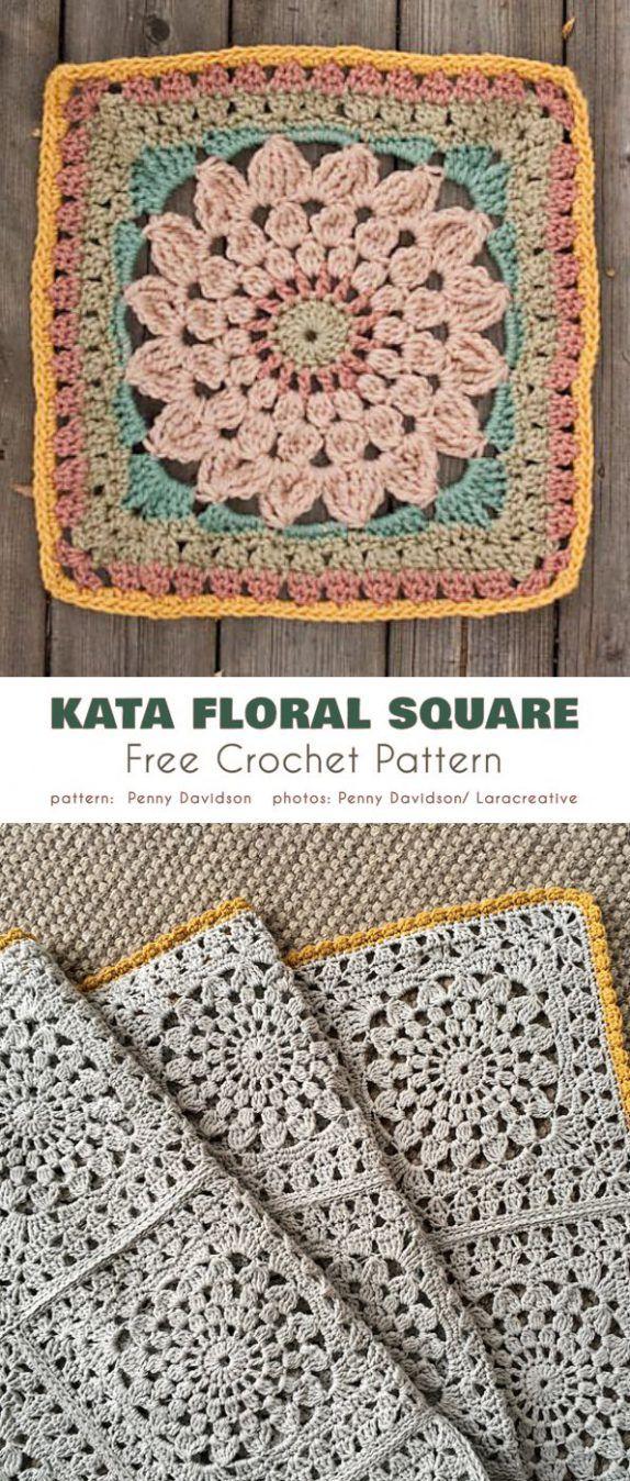 Kata Floral Square Free Crochet Pattern #grannysquares