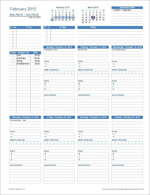 A Printable Personal Planner Template For Excel With Everything
