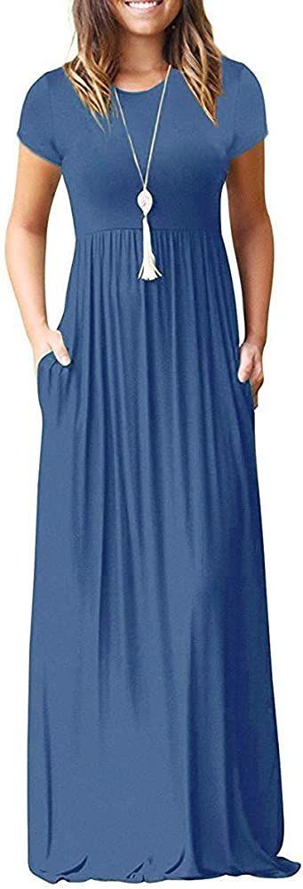 Misfay Women Short Sleeve Loose Plain Maxi Dresses Casual Long Dresses Pockets Beja Blue S At Amazon Wo In 2020 Casual Dresses Maxi Dresses Casual Long Dress Casual