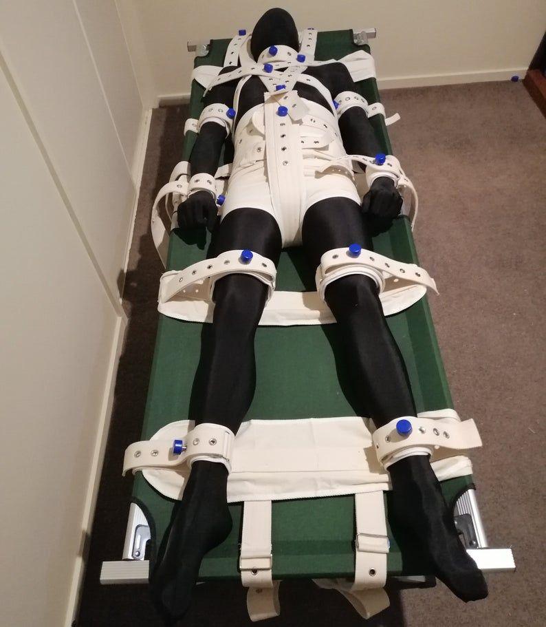 Photo of 15 Point Segufix Bed Restraint Kit Head Shoulder Waist Wrist Arm Ankle Thigh Diaper abdl
