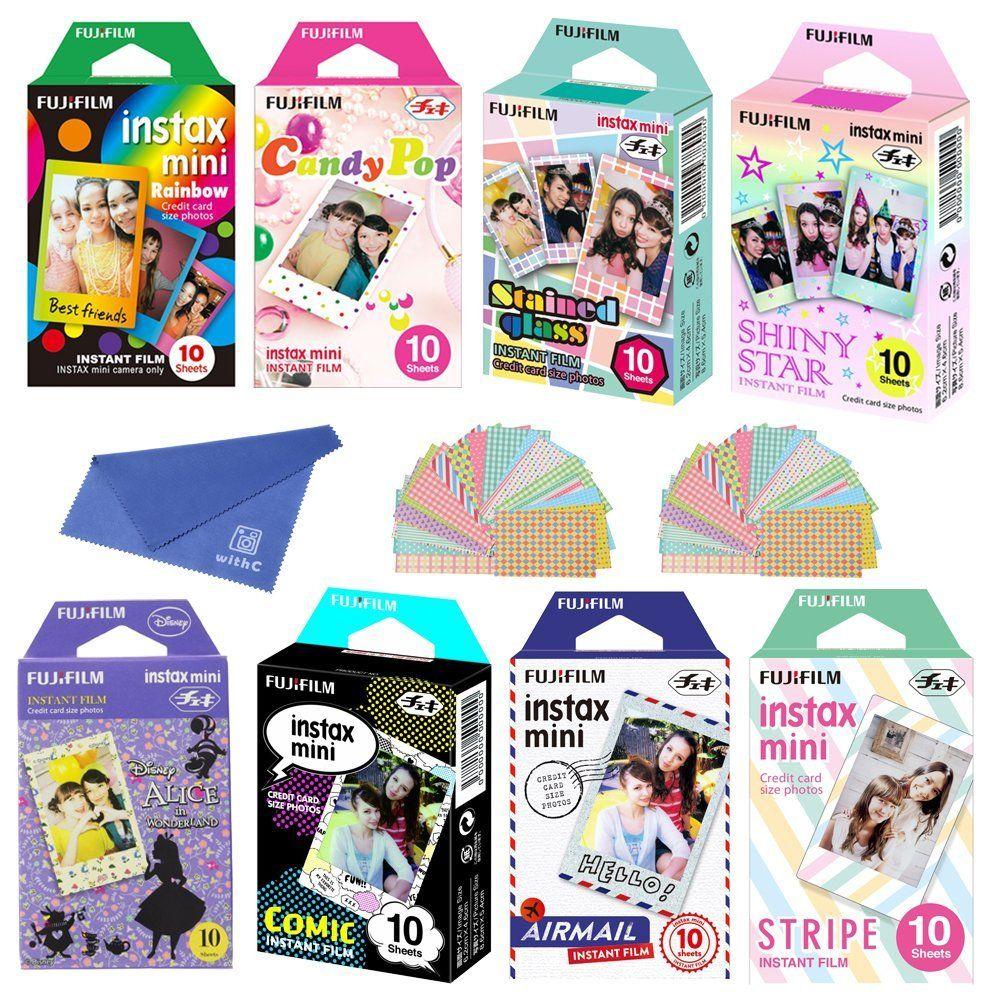 Amazon com : Fujifilm Instax Mini Film 8 Pack Bundle! Rainbow, Candy