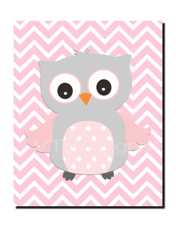 Owl Wall Art, Girl Nursery Art, Pink Gray Nursery Decor