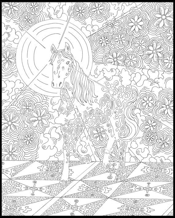 Animals Collection Coloring Book Pages Lion Horse