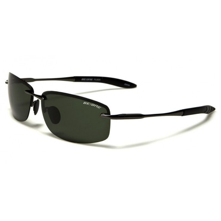 BeOne Men Rimless Polarized Sunglasses GunMetal Frame with Olive Lens