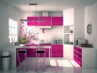 cozinha rosa e branca