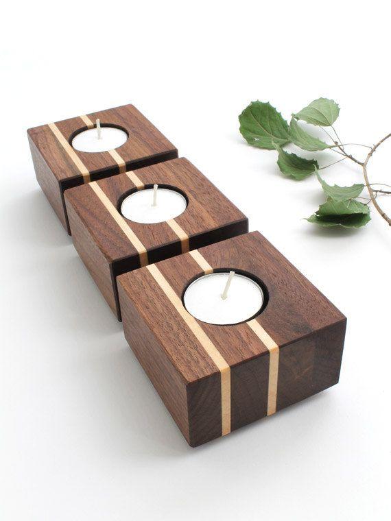 Black Walnut Wood Tea Light Candle Holder Set Of 3 Maple Wood Candle Holders Diy Wooden Candle Holders Tea Lights
