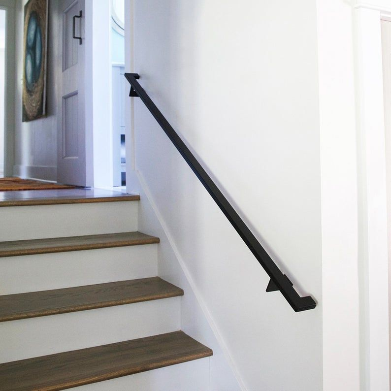 Linear Handrail Bracket 1 4 Steel Plate Bracket Wall Mount Rail Stair Step Railing Handrail In 2020 Handrail Brackets Stair Handrail Wall Mounted Wall Mounted Handrail