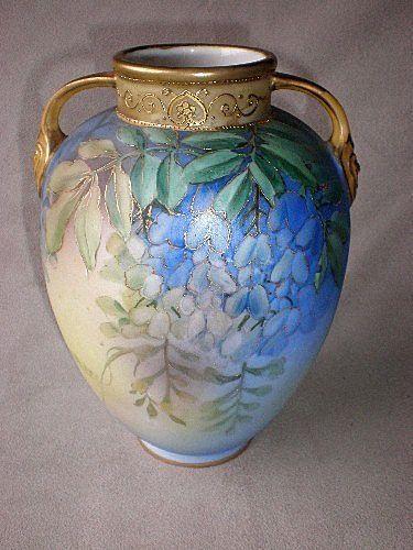 Gorgeous Nippon Porcelain Wisteria Vase Nippon Vases So