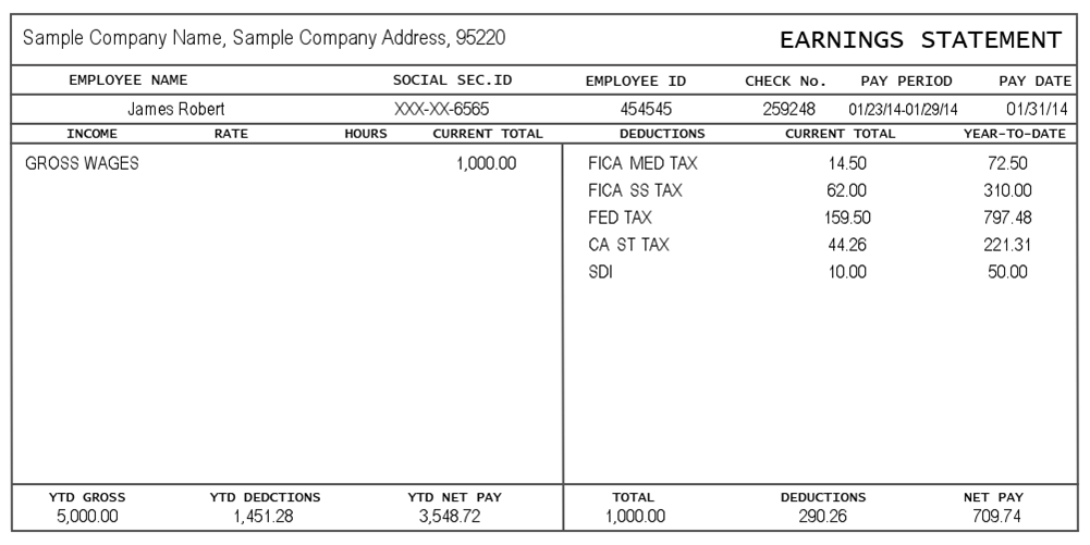 contents of a pay stub Statement template, Printable