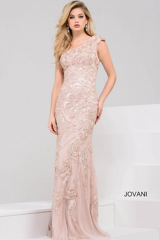 d9dffe76eff7 Intricate embroidery embellishes the column silhouette of this Jovani 49978  evening dress, topped with an