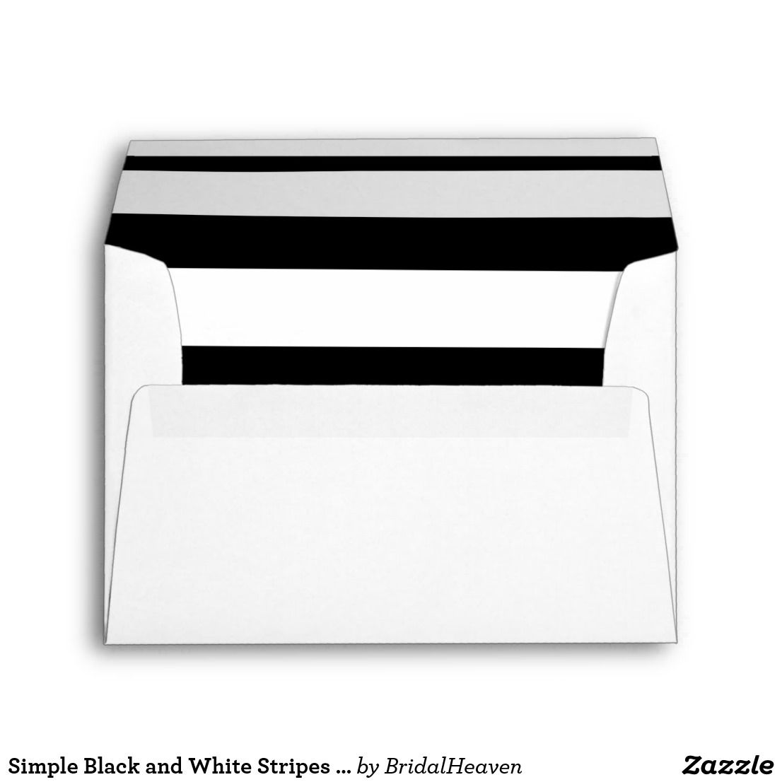 simple black and white stripes wedding invitation envelope