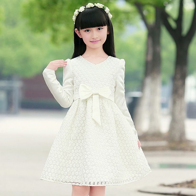 Child Kids Baby Girl Casual Print Lace Princess Hollow Dress Clothes Sundress US