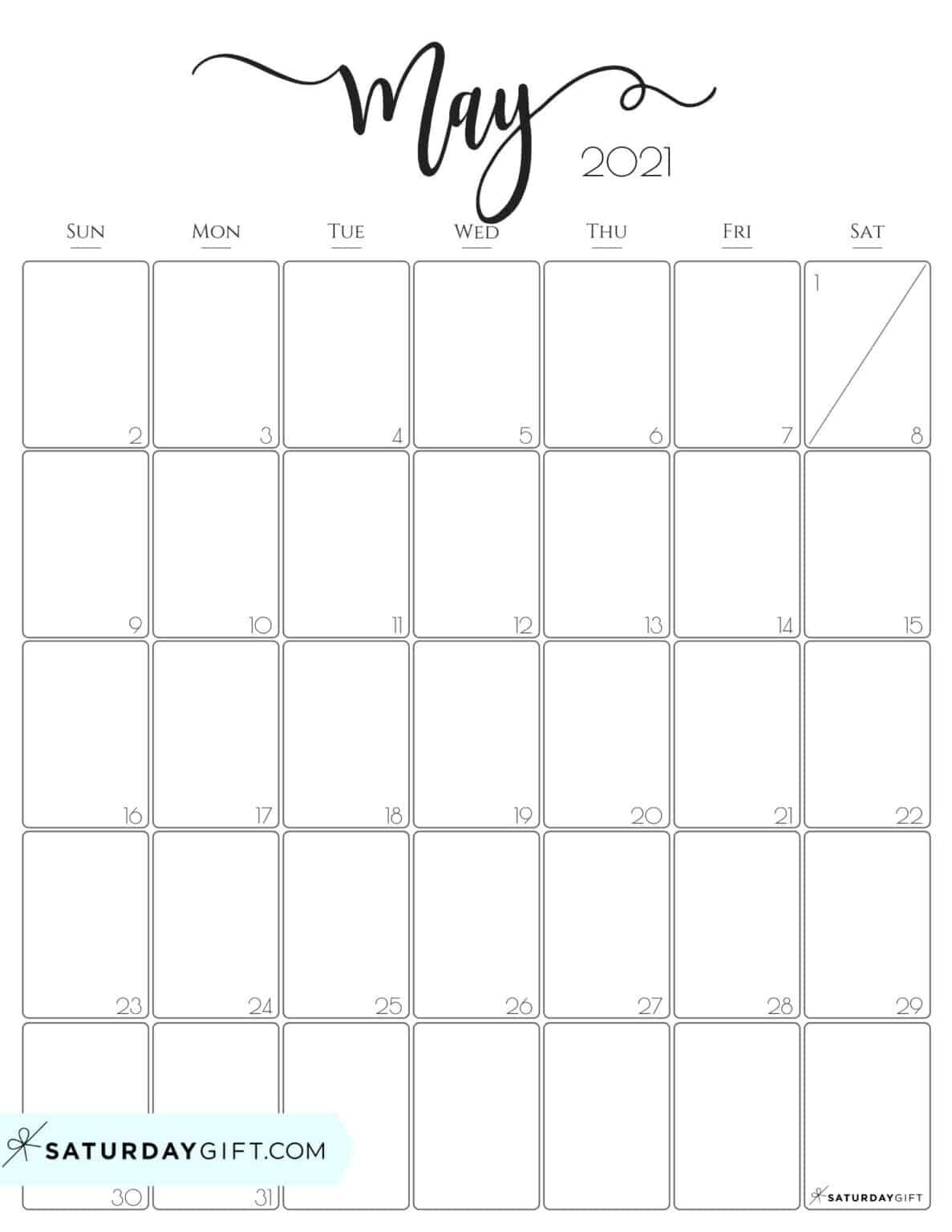 May 2021 Calendar Cute (& Free!) Printable May 2021 Calendar | SaturdayGift