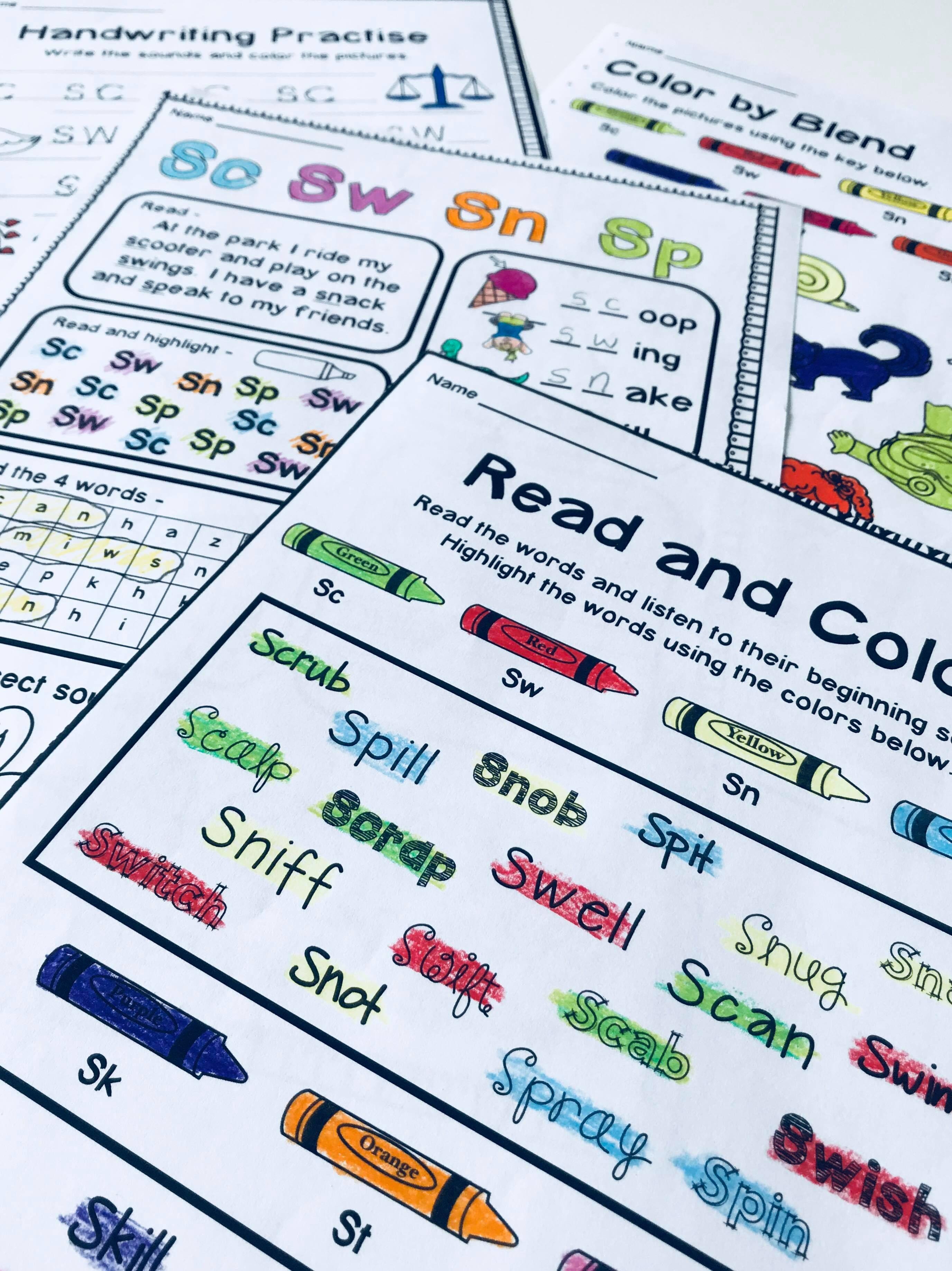 S Blend Phonics Worksheets