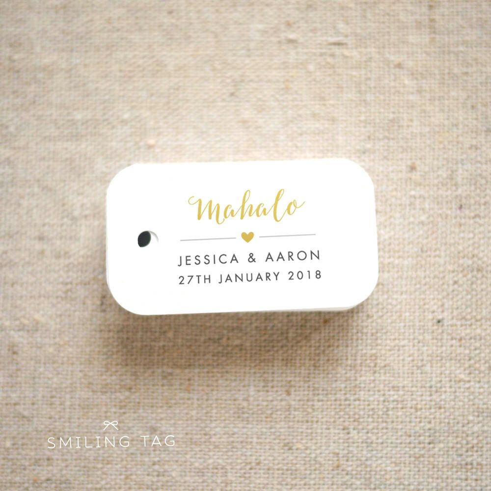 Mahalo Hawaii Wedding Favor Tags - Destination Wedding Personalized ...