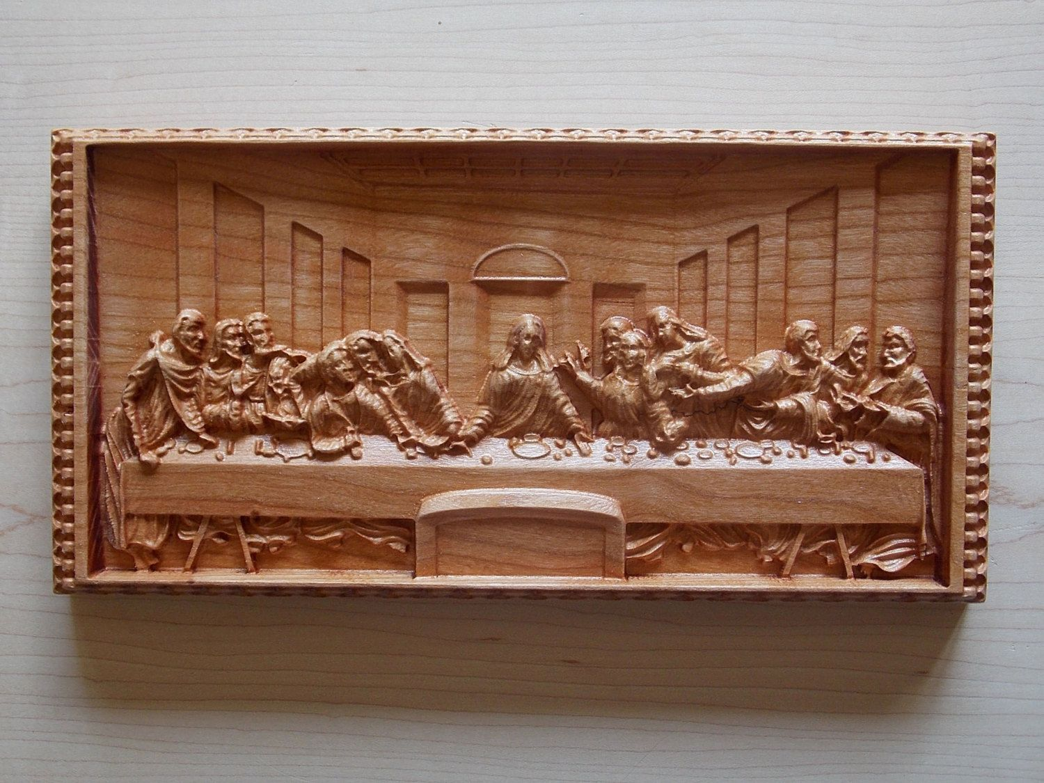 The Last Supper By Leonardo Da Vinci 10x5 Wall Hanging Cherry Wood Art Carving Pinned Pin4etsy